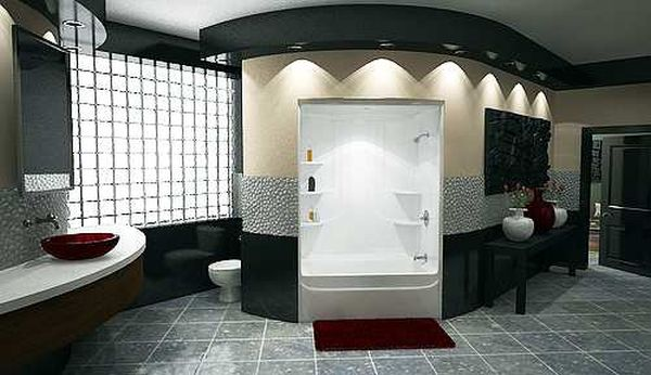Recessed lighting and beautiful accents contribute nicely to this luxury bathroom.