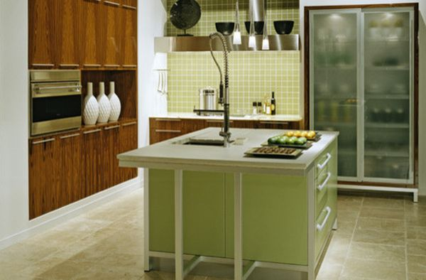 Classy modern kitchen in green with glass door refrigerator that steals the spotlight