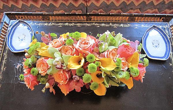 Colorful spring floral arrangement