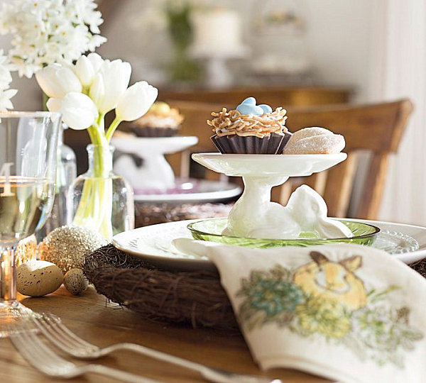 Easter table with festive goodies
