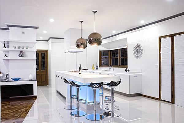 Neon lighting under the kitchen bar