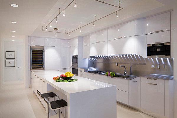 Striped under-cabinet lighting in the kitchen