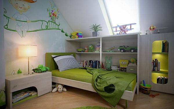 Green themed kids bedroom