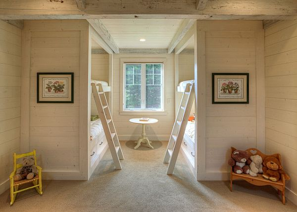 Traditional kids bedroom with bunk beds