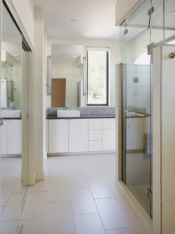 Bathroom with mirrored closets