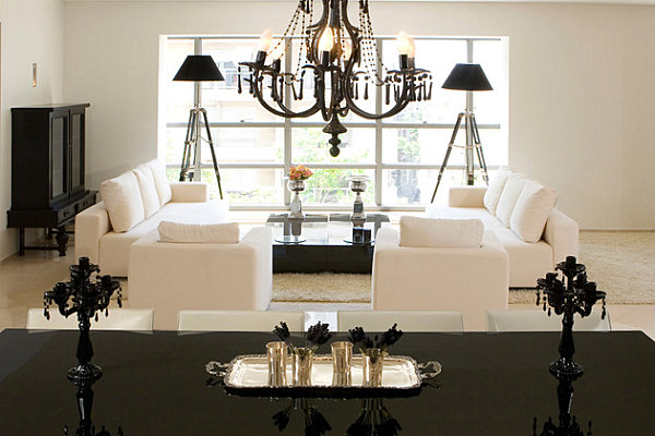 Black lacquered dining table