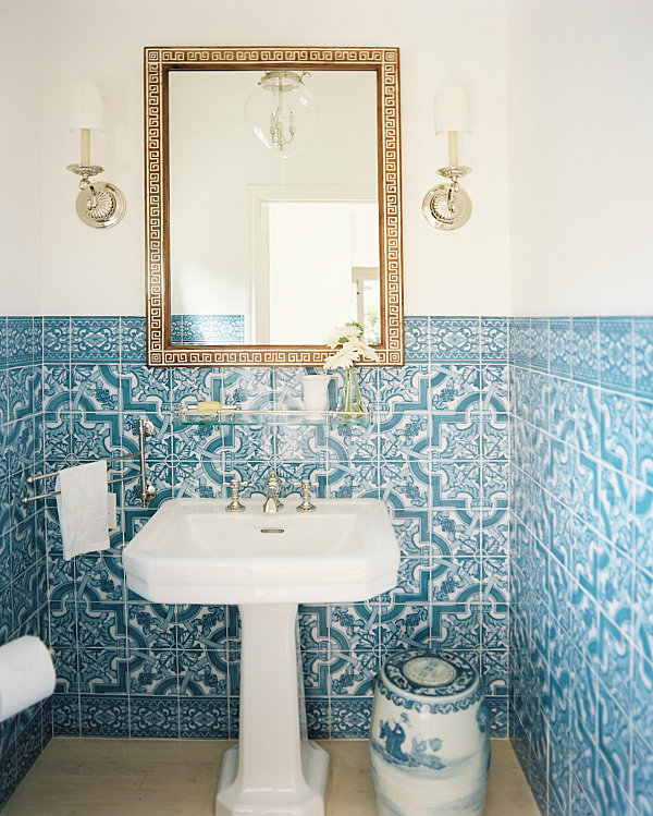 Blue and white tile in a compact bathroom