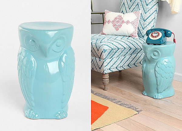 Blue owl side table