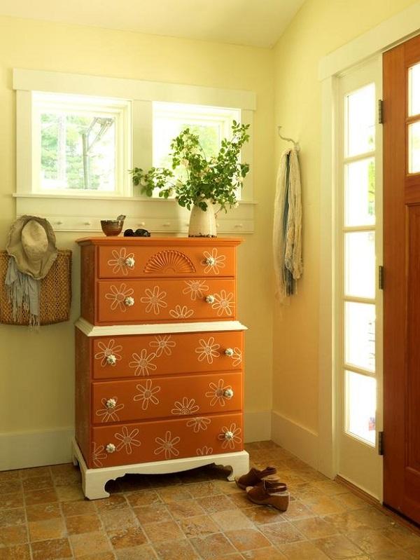 Brown dresser with flower decals DIY