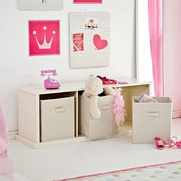 Canvas toy storage bins in cubby