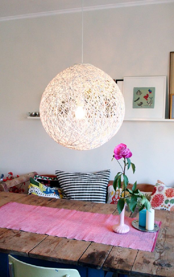 DIY white yarn chandelier made with balloon