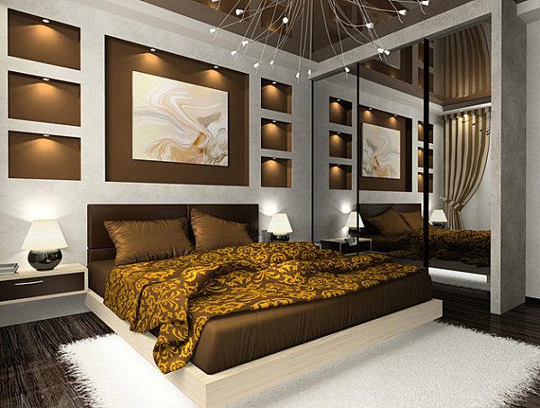 Grand mirrored closet doors in a modern bedroom