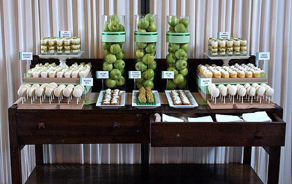 Green-themed dessert table