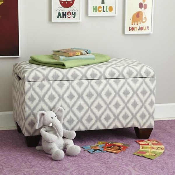 Grey and white upholstered storage bench