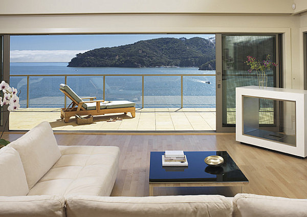 Lacquered furniture in a modern living room