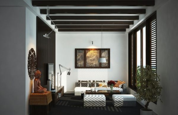 Living room with an Asian-inspired theme