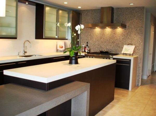 Lovely wall cabinets with frosted glass doors for an eclectic kitchen