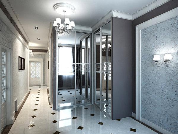 Mirrored doors in the hallway