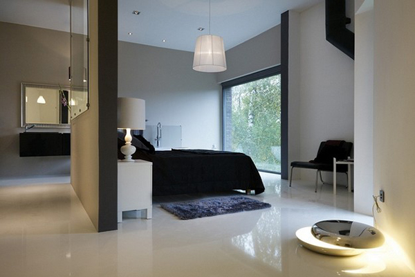 Modern bedrooms in the villa with plush decor