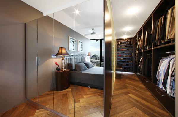 Modern mirrored closet doors