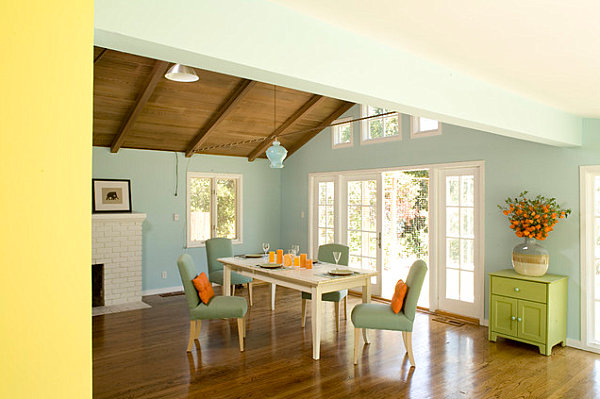 Pastel dining room with bright accents