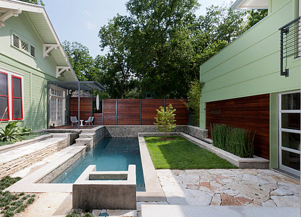 Patio, pool and green