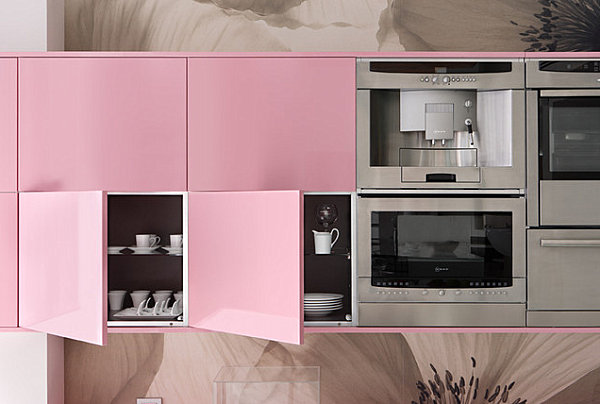 Pink lacquered cabinets