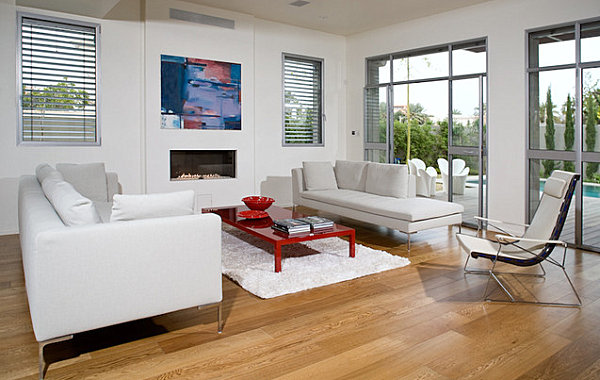 Red lacquered coffee table