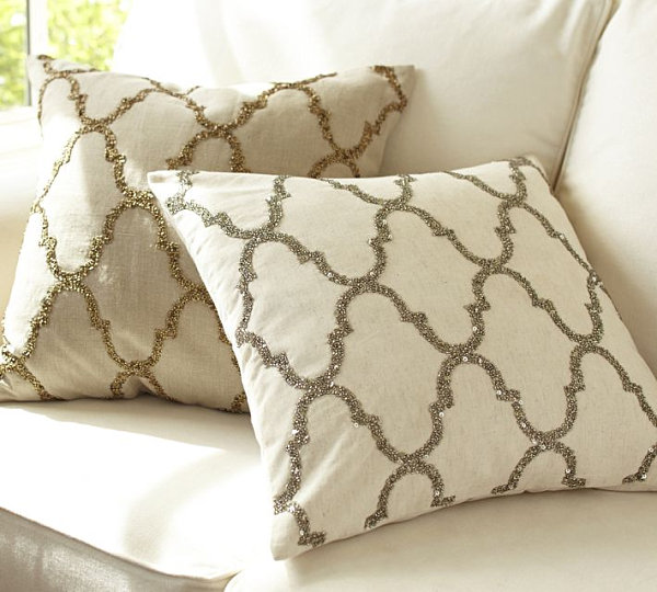Rustic luxe sequin tile pillow covers