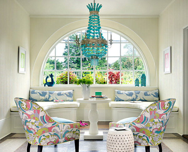 Saturated pastels in an upscale sitting area