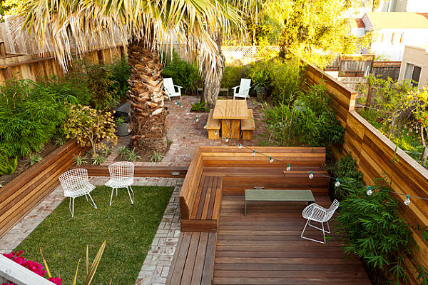 Small landscaped backyard