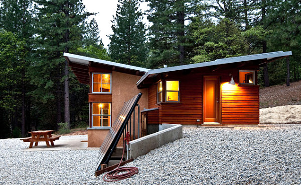 Solar collectors and roof paneling in a modern home