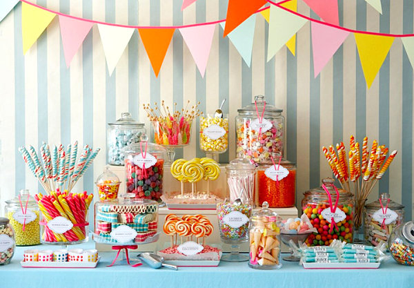 Spring party candy table