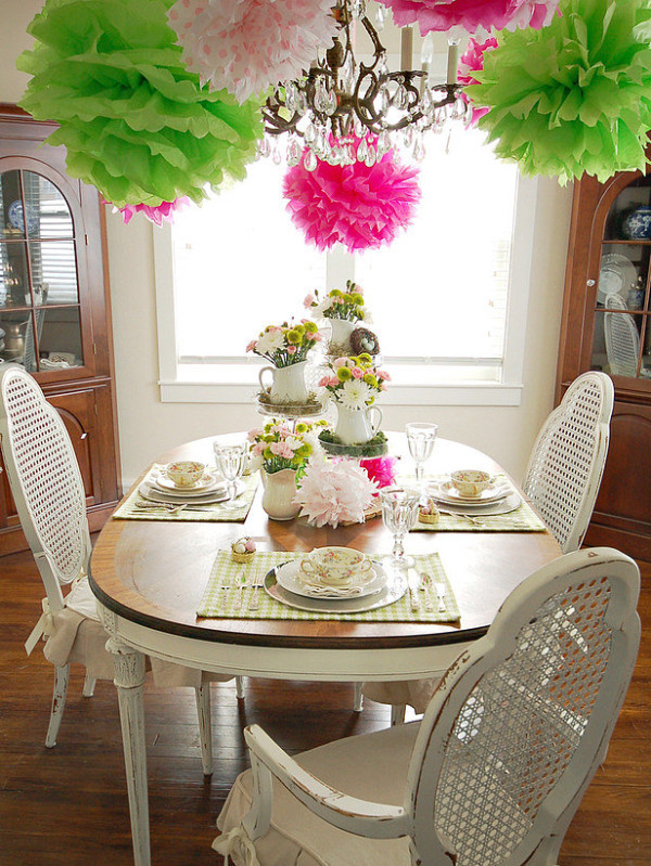 Spring party table with tissue poms