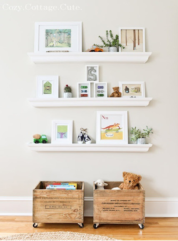 Toy storage wooden crates with wheels