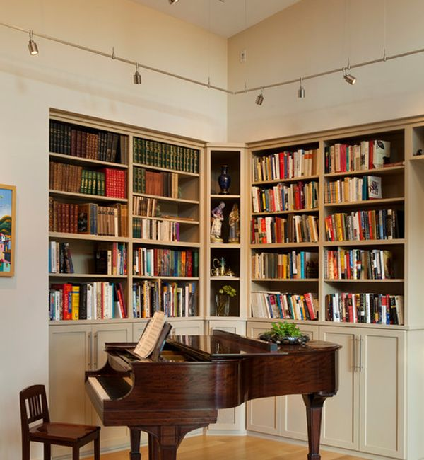 Track lighting is an ideal way to light up home libraries and bookshelves