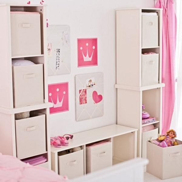 White wall unit with canvas storage bins