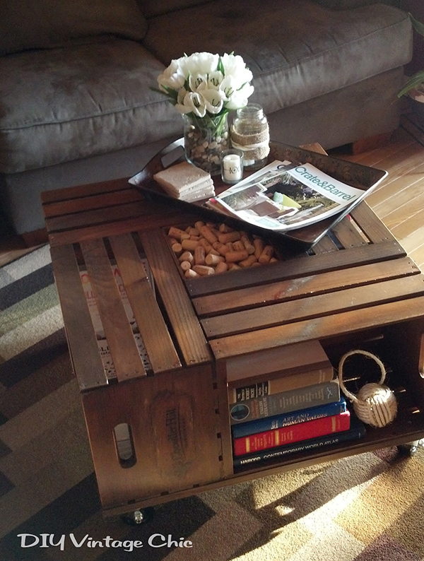 Wine Crate DIY Coffee Table