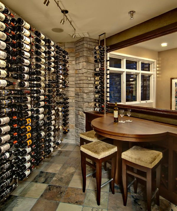 Wine cellar with compact seating area that comes in handy for a quick tasting