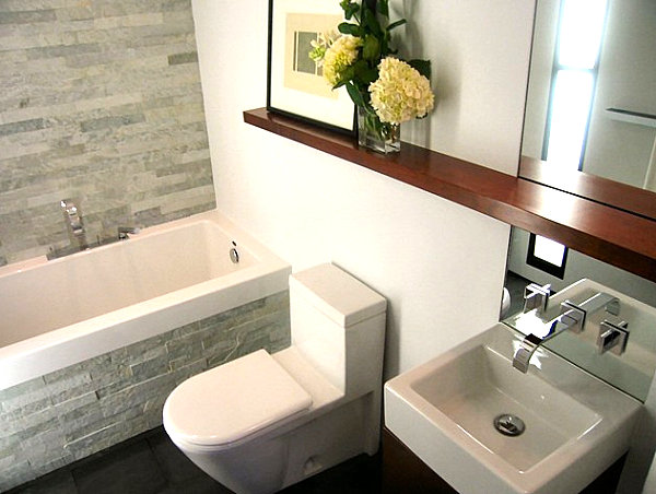 Wooden ledge in the bathroom