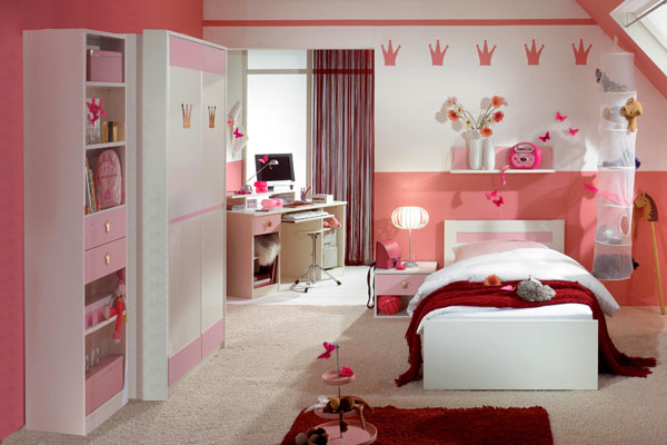 Add some scarlet red to the pink and white bedroom for a brighter look