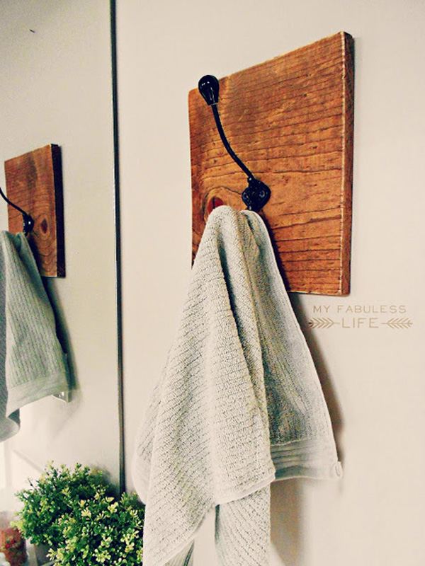 Aged wood towel rack with single hook
