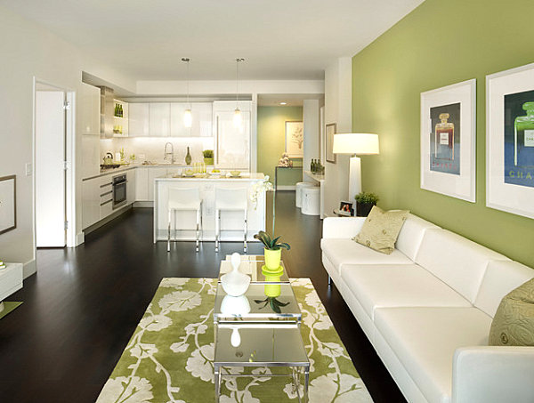 Clean and modern green living room