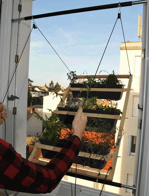 DIY Pulley Window Vegetable Garden