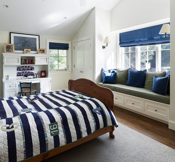 Green, blue and white boys' bedroom – A refreshing and rare combination!