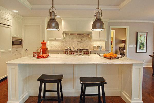 Industrial lighting modernizes a bistro kitchen
