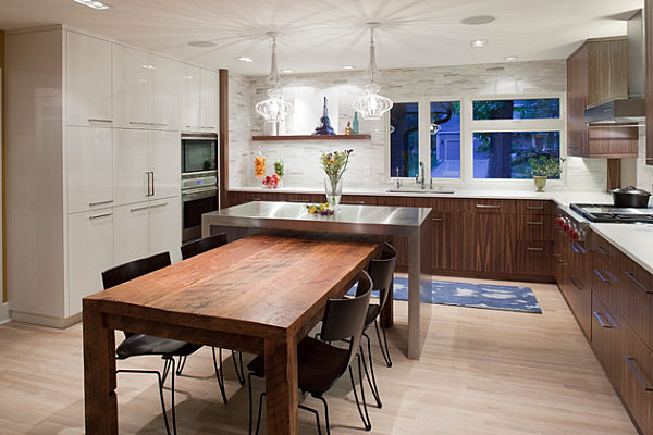 Kitchen island in custom wrapped stainless steel