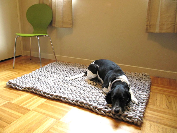 Knit rope rug