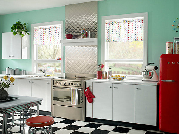 Metal backsplash and canisters in a retro kitchen