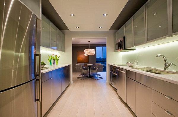 Metallic cabinets in a modern kitchen